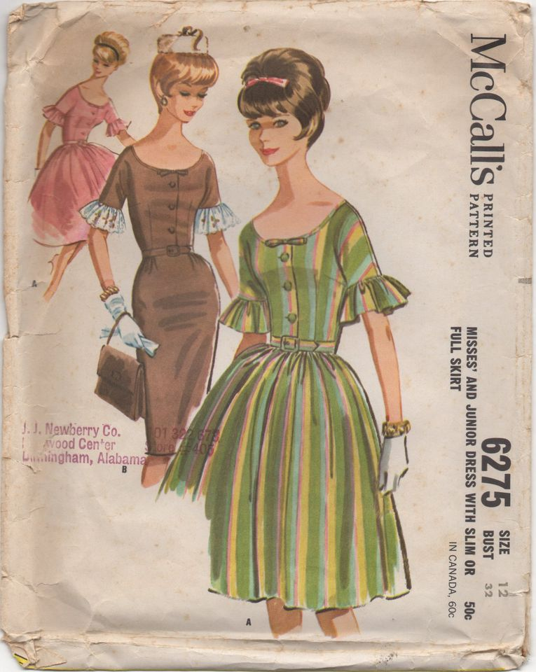 1960's McCall's One Piece Dress with Gathered or Slim Skirt and Flounce at Sleeve - Bust 32