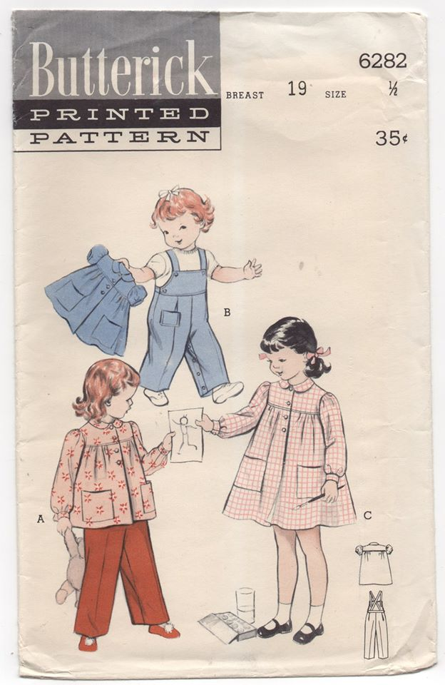 1950's Butterick Toddler Smock and Overalls - 6mo - No. 6282