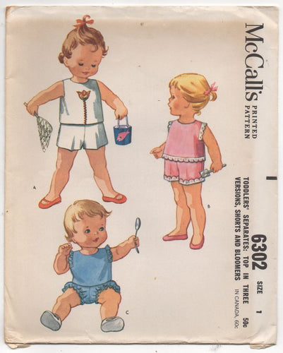 1960's McCall's Child's Top in 3 lengths, Shorts and Bloomers - Chest 20