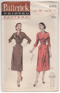 "UC/FF - 1950's Butterick Cross-over Front Dress with Bow detail and pockets - Bust 32"" - No. 6307"