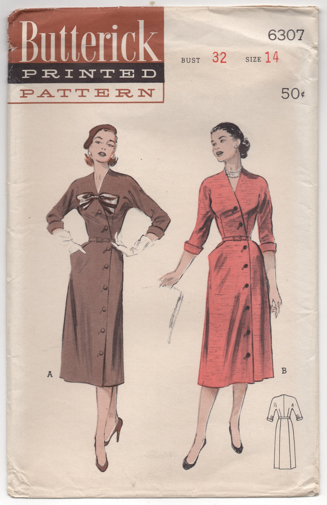 UC/FF - 1950's Butterick Cross-over Front Dress with Bow detail and pockets - Bust 32