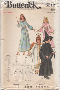 "1970's Butterick Angel, Witch, Fairy Godmother and Princess Costume Pattern - Bust 30"" - No. 6312"