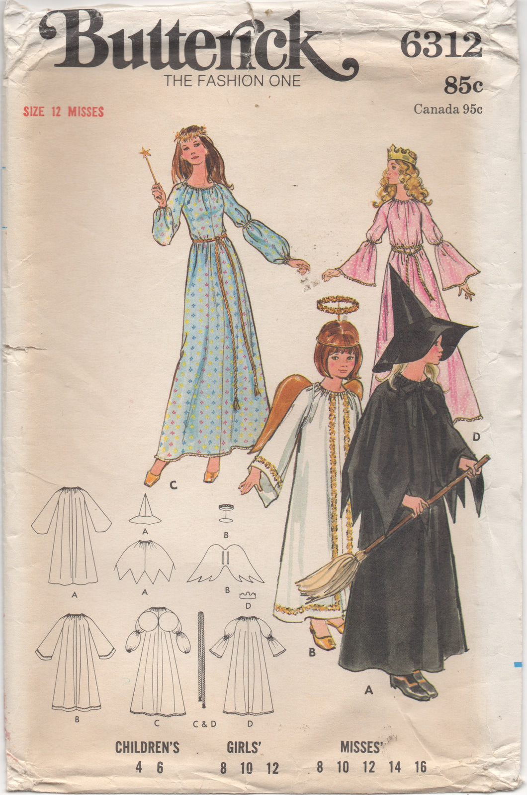 1970's Butterick Angel, Witch, Fairy Godmother and Princess Costume Pattern - Bust 30