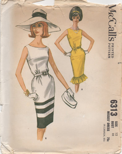 1960's McCall's One Piece Slim Fit Dress with or without Ruffle Bottom - Bust 32