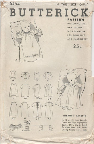 1930's Butterick Baby Layette with Dress, Slip, Nightgown, Bootie, Shirt and more - OS - No. 6464