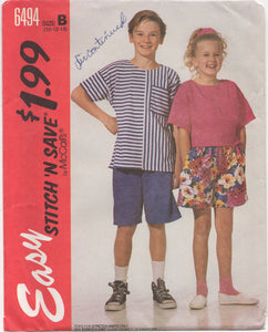 "1990's Easy Stitch and Save McCall's Child's Shirt and Shorts - Breast 28.5-30-32"" - No. 6494"