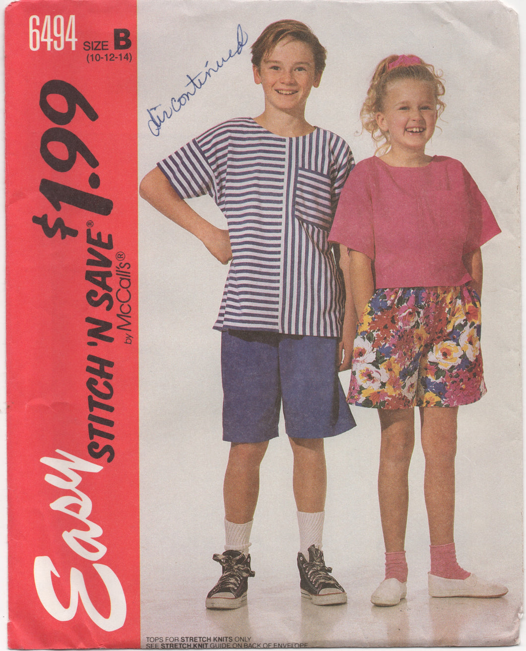 1990's Easy Stitch and Save McCall's Child's Shirt and Shorts - Breast 28.5-30-32