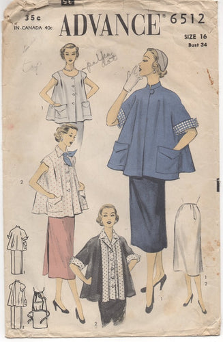 SET of 3 WOUNDED - 1950's Advance Maternity Patterns - Bust 34