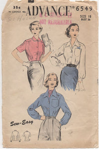 "1950's Advance Button up Blouse with Wide or Peter pan Collar - Bust 36"" - No. 6549"