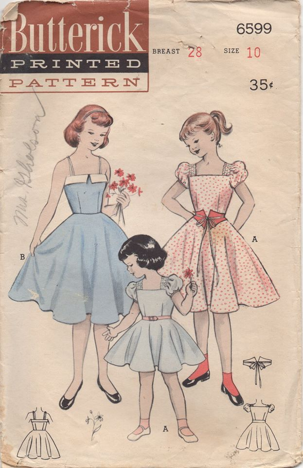 1950's Butterick Child's One Piece Dress with Puff or Skinny Straps and Belt - Chest 28