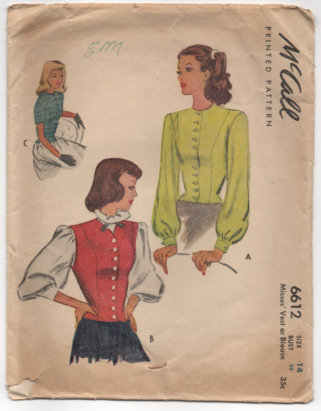 1940's McCall Blouse with Long or Short Sleeves and Vest - Bust 32