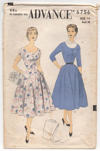 "1950's Advance One Piece Dress with Scoop Neck and Dickey - Bust 32"" - No. 6756"