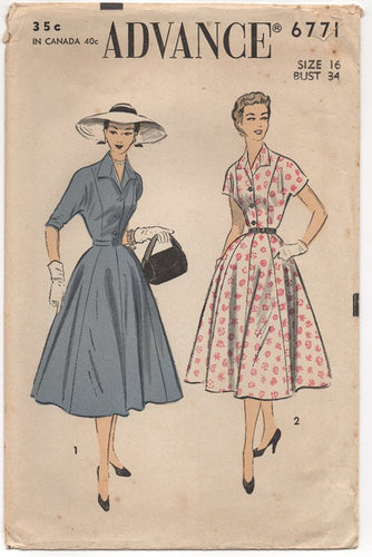 1950's Advance One Piece Shirtwaist Dress with Dolman Sleeves - Bust 34