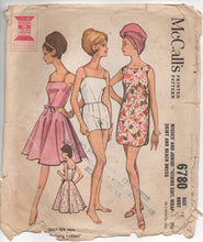 "1960's McCall's One Piece Bathing Suit, Beach Dress and Cover Up - Bust 31"" - No. 6780"