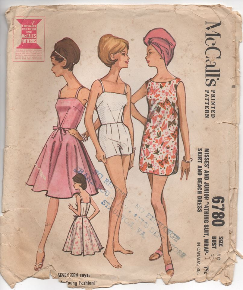 1960's McCall's One Piece Bathing Suit, Beach Dress and Cover Up - Bust 31