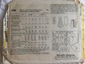 "1960's McCall's One Piece Bathing Suit, Wrap Skirt, and Beach Dress - Bust 31"" - UC/FF - No. 6780"