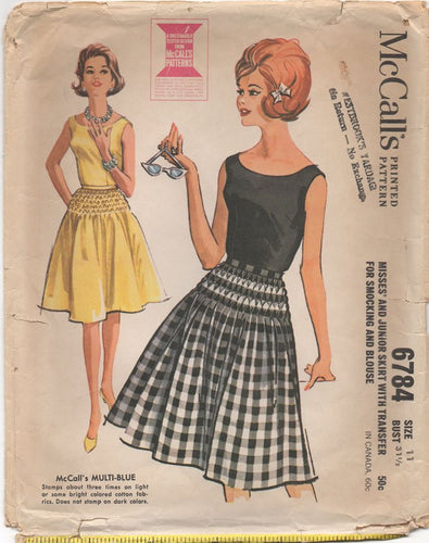 1960's McCall's Smocked Skirt and Sleeveless Blouse - Bust 31.5