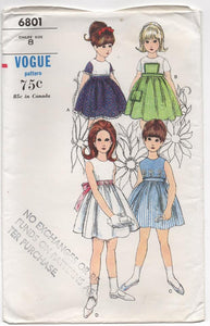 1960's Vogue Girl's One Piece Dress with pocket - 8yrs - UC/FF - No. 6801