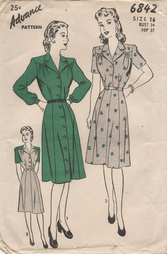 1940's Advance One Piece Dress fully buttoned or Shirtwaist - Bust 34