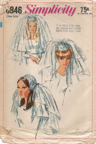 1960's Simplicity Wedding veil and hat in three styles - One size - No. 6846