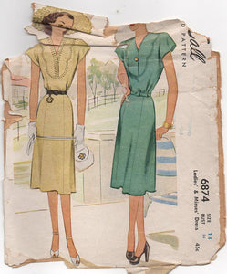 "1940's McCall One Piece Dress with Scallop Yoke detail - Bust 36"" - No. 6874"