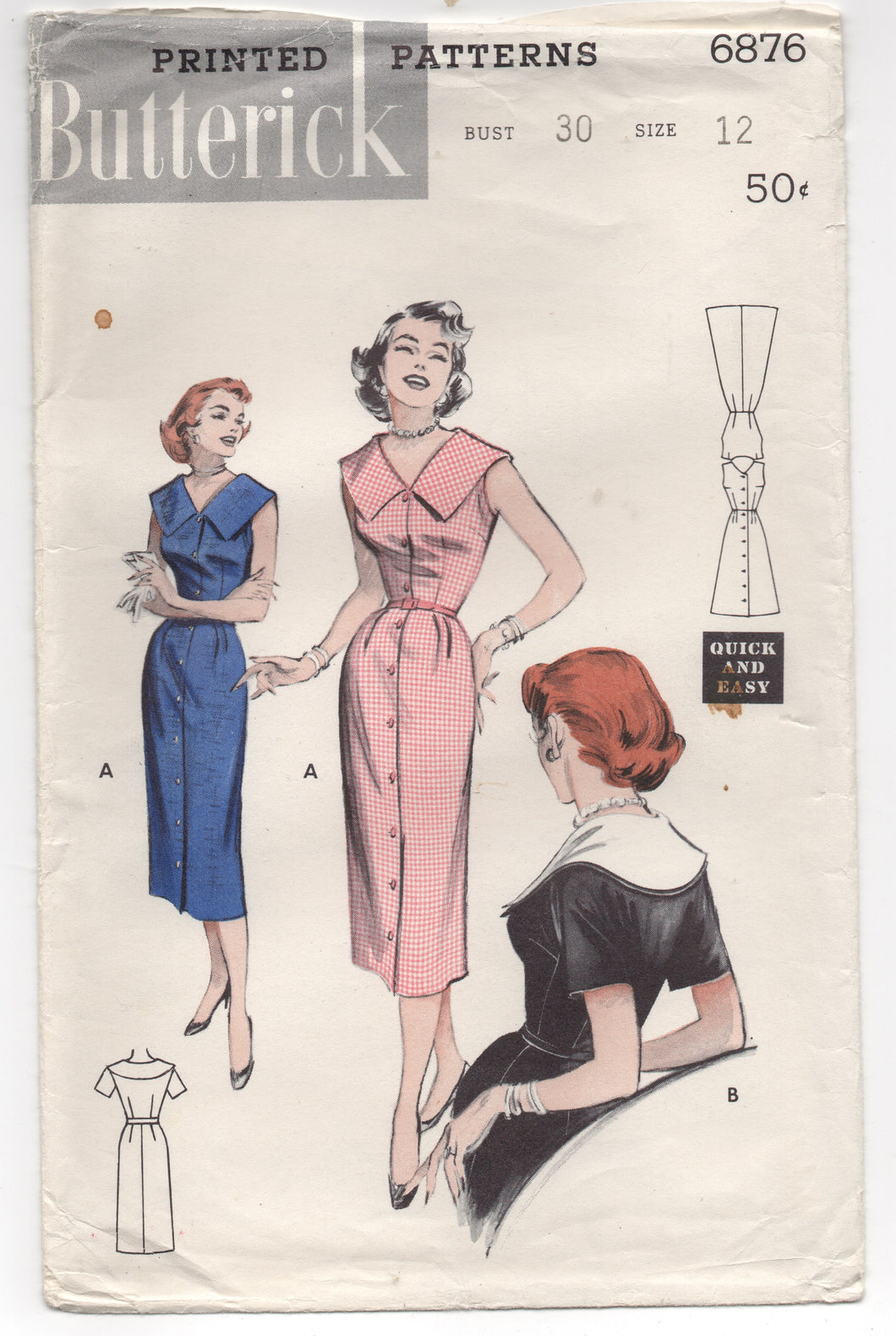 1950's Butterick One Piece Button up Dress with Wide Collar - Bust 30