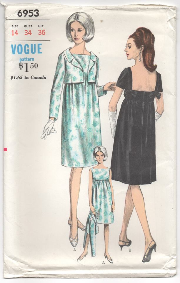 1960's Vogue One Piece Maternity Dress with Deep Back and Bow detail and Bolero- Bust 34