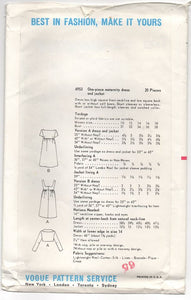 "1960's Vogue One Piece Maternity Dress with Deep Back and Bow detail and Bolero- Bust 34"" - No. 6953"