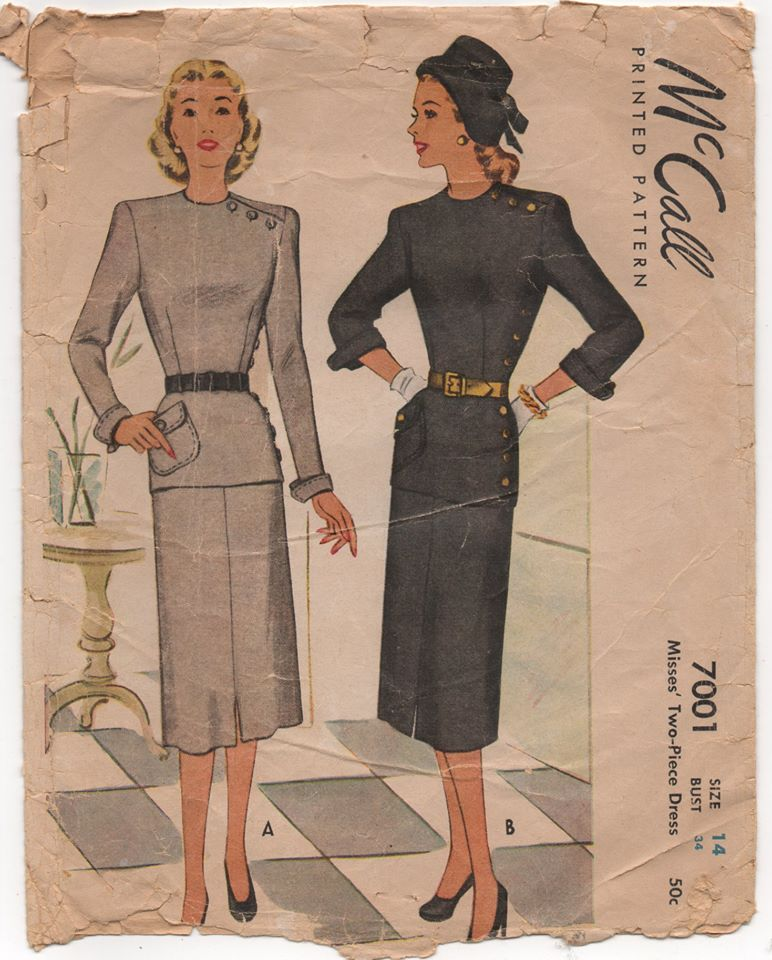 1940's McCall Peplum Blouse with Cross and side buttons, and Straight Skirt - Bust 34