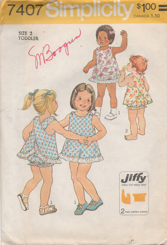1970's Simplicity Toddler Wrap Dress with Bloomers - Size 2 - No. 7407