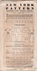 "1950's New York One Piece Dress with Moulded Shoulder and Two Sleeve styles - Bust 34"" - No. 712"