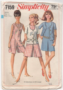 "1960's Simplicity Sleeveless Romper and Jacket - Bust 31.5"" - No. 7159"