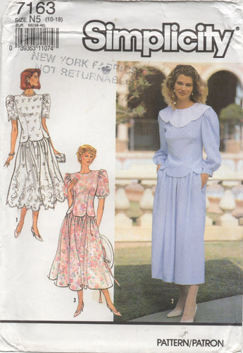 1990's Simplicity Two Piece Dress with Puff Sleeves and Gathered Skirt pattern - Bust 32.5-34-36-38-40