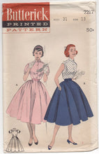 "1950's Butterick One Piece Dress with Full Circle Skirt - Bust 31"" - No. 7217"