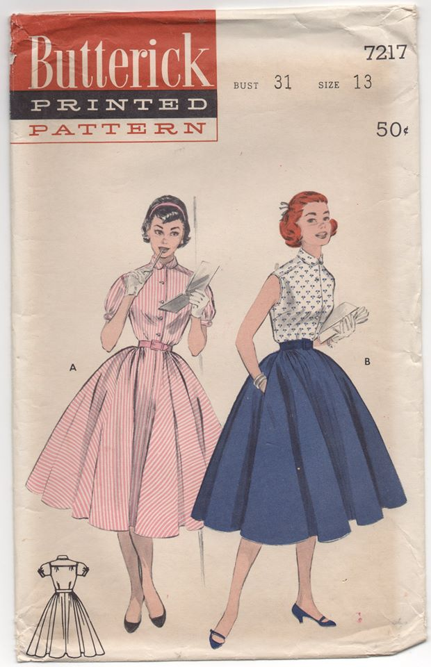 1950's Butterick One Piece Dress with Full Circle Skirt - Bust 31