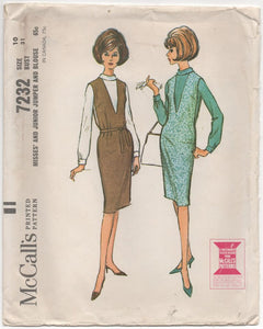 "1960's McCall's One Piece Dress and Blouse - Bust 31"" - No. 7232"