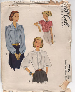 "1940's McCall's Button Up Blouse with Peter Pan Collar or Wide Collar - Bust 32"" - No. 7236"