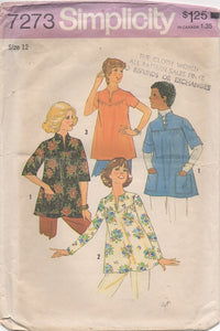 "1970's Simplicity Maternity Blouse with three sleeve styles - Bust 34"" - No. 7273"