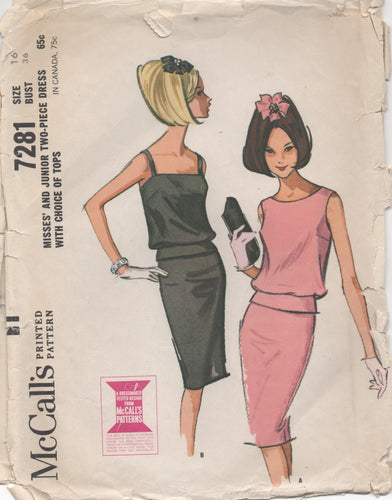 1960's McCall's Two Piece Dress with Two Top styles and Slim Skirt - Bust 36
