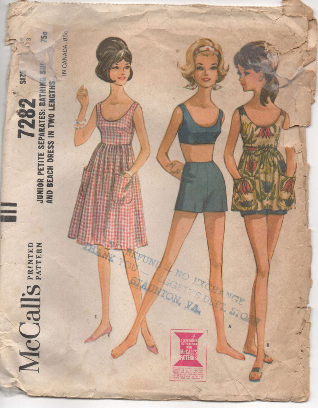 1960's McCall's Two Piece Swimsuit and Beach Dress in Two Lengths - Bust 33-33.5