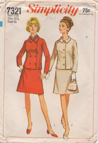 1960's Simplicity Two-Piece Suit Pattern - Bust 41
