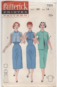 "UC/FF - 1950's Butterick Empire Sheath Dress and Jacket - Bust 32"" - No. 7321"