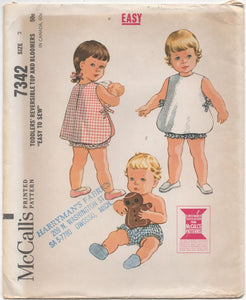 "1960's McCall's Child's Reversible Top and Bloomers - Chest 21"" - No. 7342"