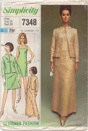 1960's Simplicity Designer One Piece Midi or Maxi Dress with Jacket - Bust 34