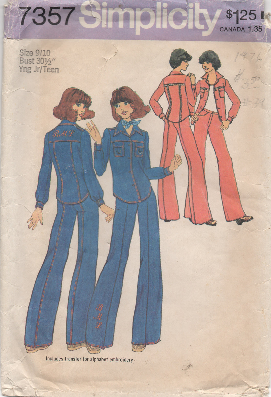 1970's Simplicity Button up Shirt and Wide-Leg Pants - Bust 30.5