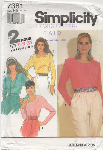 1990's Simplicity Pullover blouse with 3 Necklines pattern - Bust 30.5-31.5-32.5-34-36