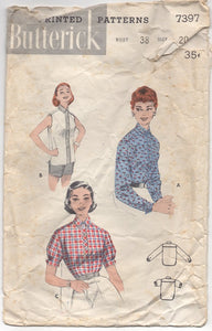 "1950's Butterick Button-Up Blouse with 3 Sleeve options - Bust 38"" - No. 7397"