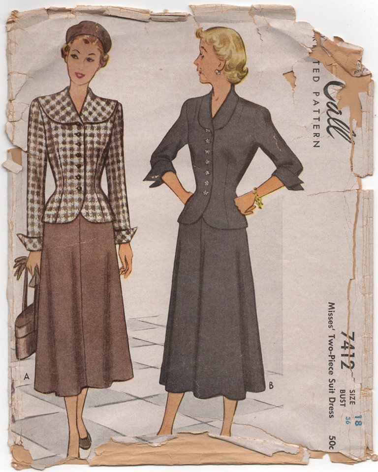 1940's McCall Two Piece Suit Dress with 3 Sleeve lengths and Two Collars- Bust 36