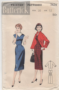 "UC/FF - 1950's Butterick V-neck Jumper and Jacket - Bust 30"" - No. 7434"