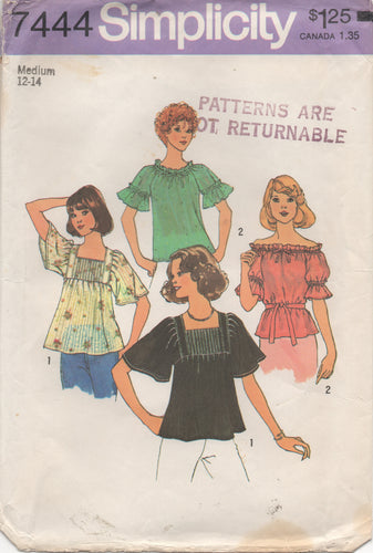1970's Simplicity Pullover Peasant and Square neckline Tops - Bust 34-36